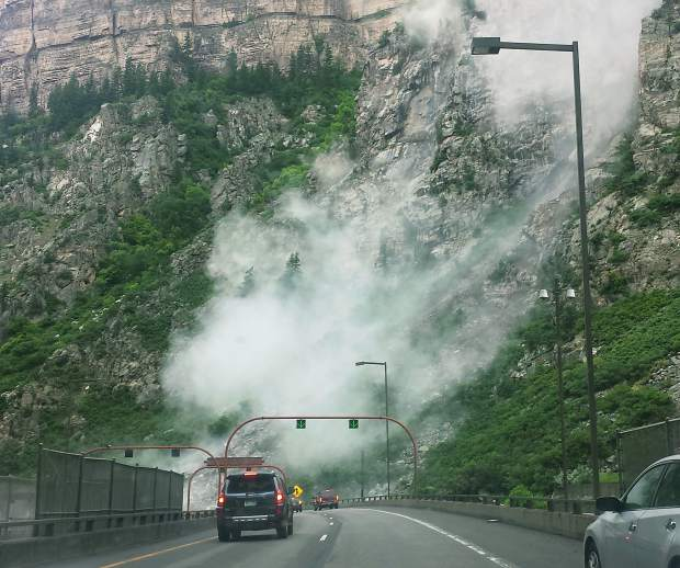 This is the scene of Thursday morning's rockslide in Glenwood Canyon that forced closure of Interstate 70.