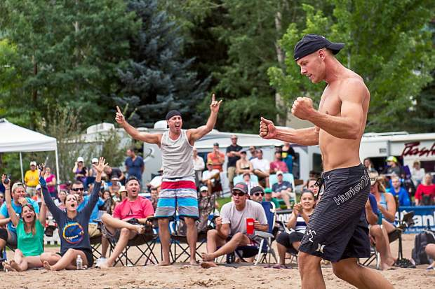 Tim Bomgren, and his Minnesota contingent, react during the men's open division final at the MotherLode Volleyball Classic on Monday.