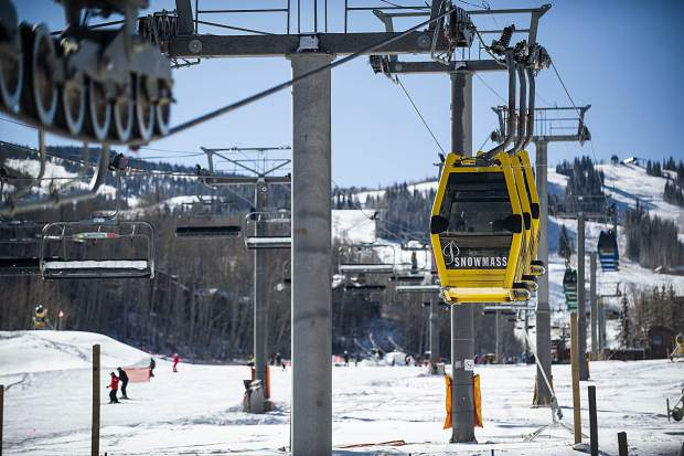 The gondola at Fanny Hill in Snowmass on Thursday.