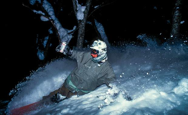 Mike Ranquet (shot by Sean Sullivan) in an undisclosed backcountry location in 1996.