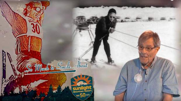 A screenshot from one in a series of videos documenting Sunlight Mountain Resort's 50th year by Versatile Productions, shows Don Vanderhoof, one of the ski area's founders with a historic backdrop of the Holliday Hill rope tow.
