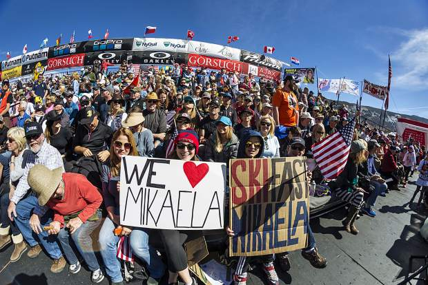 Mikaela fans cheer from the grandstand at the World Cup Finals Sunday.