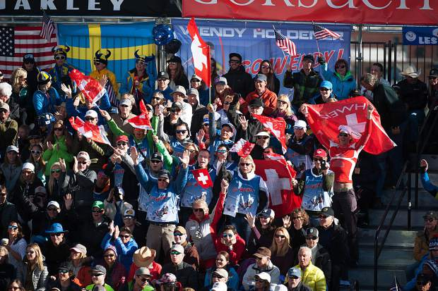 Swiss flags were flying high in the grandstands during the men's World Cup finals for giant slalom.
