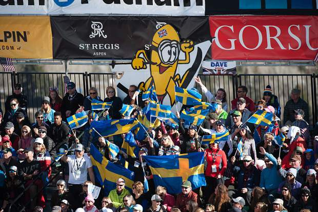 Swedish flags were flying high in the grandstands during the men's World Cup finals for giant slalom.