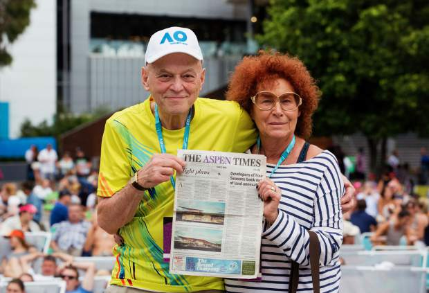 Part-time Aspen residents Adrian and Maryann Gruia pose with a copy of The Aspen Times while on their yearly trek to the Australian Open tennis tournament in Melbourne in January.