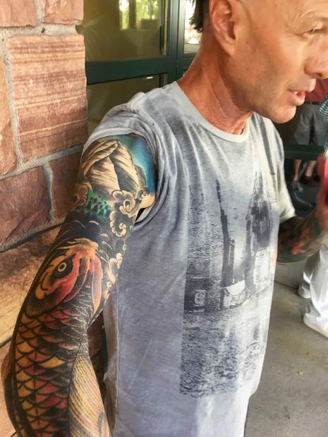 Gonzo of Aspen and Seal Beach, California, shows off his full sleeve of tattoos.