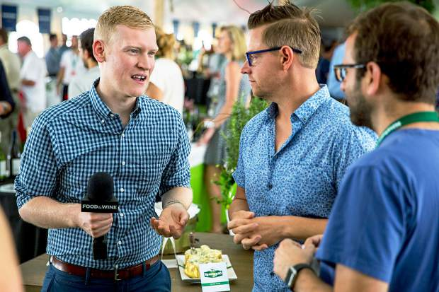 Justin Chapple and Richard Blais answer questions at the Friday Grand Tasting.
