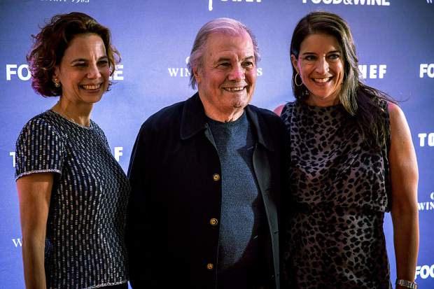 Dana Cowin, Jacques Pepin, and Christina Grdovic pose at the red-carpet event on Thursday night.