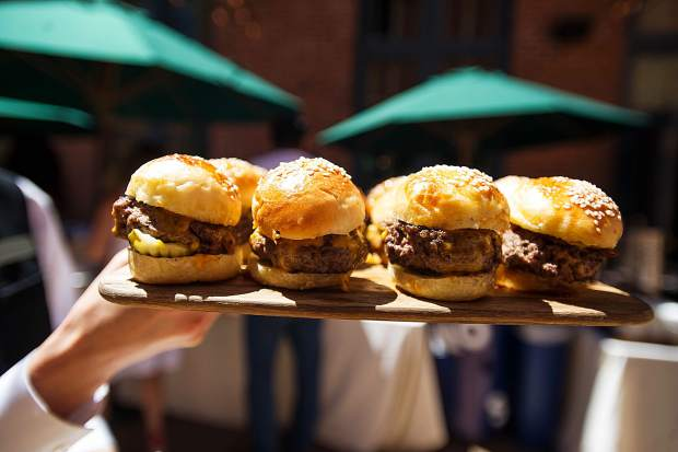 Sliders offered at A Bubbly Brunch hosted at the Hotel Jerome on Sunday.