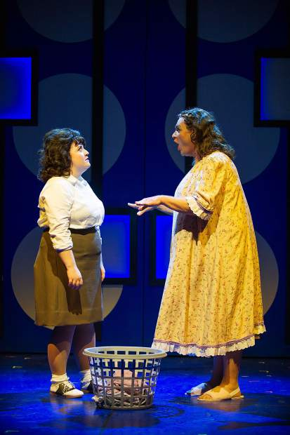 Taylor Hartsfield playing Tracy Turnblad, left, and Kevin Carolan playing Edna Turnblad in Aspen Theatre's production of Hairspray at their dress rehearsal June 23.