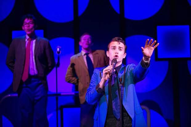 Christian Probst singing as Link in Aspen Theatre's production of Hairspray at their dress rehearsal June 23.