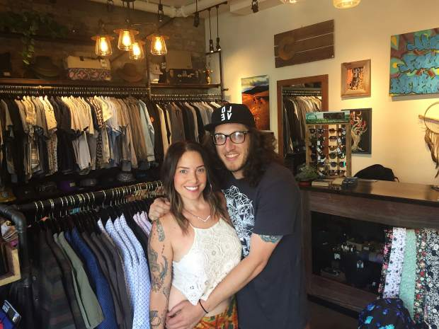 Ivy Arneson and Miles Rattet own the new Fourth Dimension men's clothing store on Cooper Avenue, in back of the Hotel Denver building next to Mona Lisa.