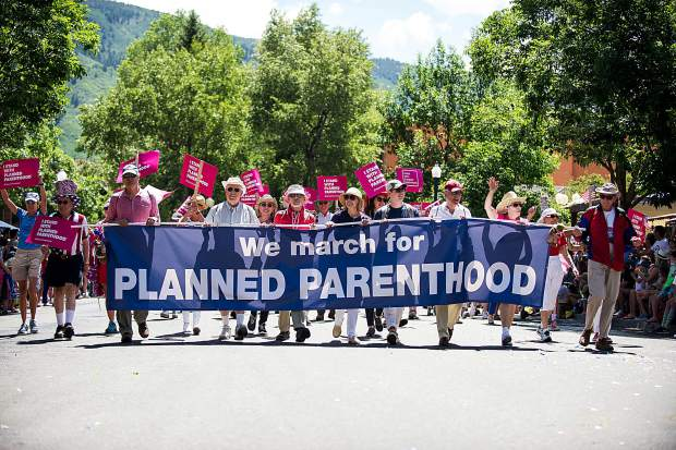 A Planned Parenthood support march in Aspen's parade on Tuesday.