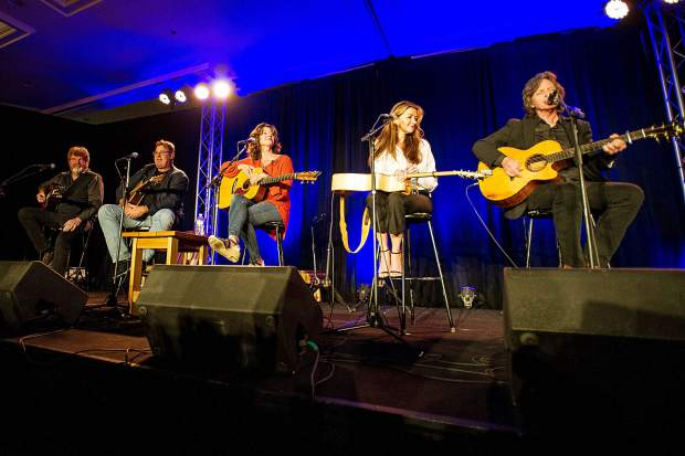 Vince Gill, Amy Grant and friends performing at the Challenge Aspen benefit known as the Vince Gill and Amy Grant 14th Anniversary Gala and Golf Classic at the St. Regis Monday evening.