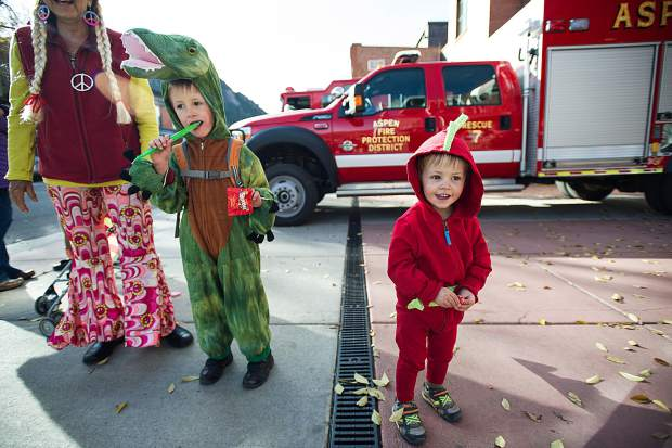 Cora Weiler, 1.5, right, and her brother Annen, 5, are dressed up for the 'Boo Bash