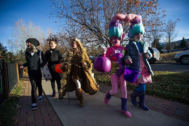 Trick or treaters on Halloween in the North 40 neighborhood on Tuesday.
