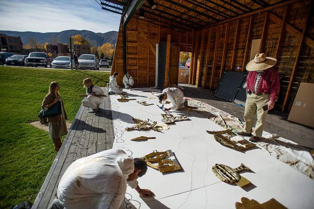 Dreamer students working on their mural at the Basalt Art Base on October 19.