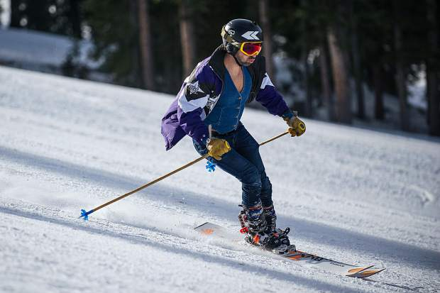 A skier makes his way down Aspen Mountain on opening day on Thursday.