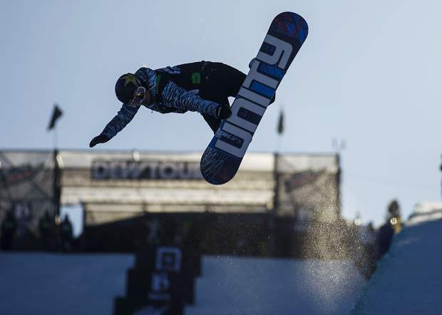 Arielle Gold of United States competes in the superpipe finals during the Dew Tour event Friday, Dec. 15, at Breckenridge Ski Resort.