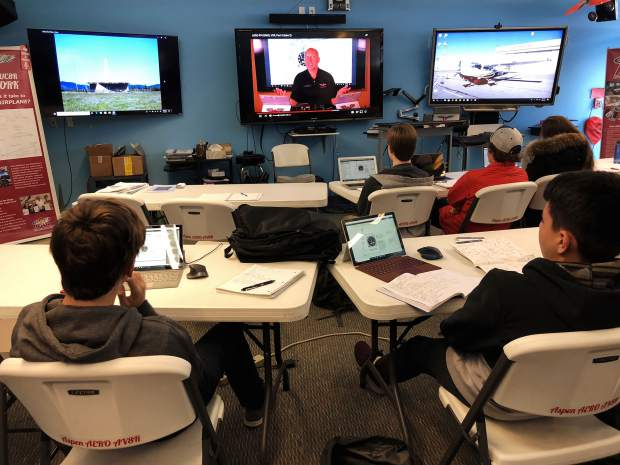 Greg Roark live-streams a class to Aspen; the idea behind this type of curriculum was key to AspenAERO receiving a $25,000 grant from American Airlines.