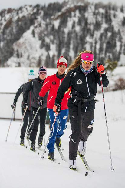 Chelsea Moore, front, during nordic ski practice on February 12 outside of the AVSC clubhouse.
