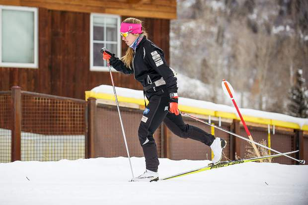 Chelsea Moore during nordic ski practice on February 12 outside of the AVSC clubhouse.