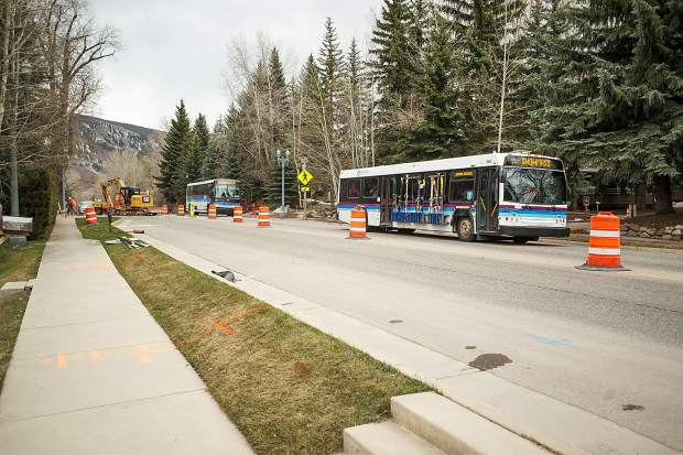 Outbound traffic was diverted to underneath the Castle Creek Bridge with the start of the construction Monday afternoon but buses and oversize vehicles still cross the bridge.