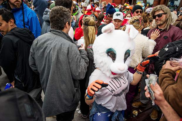 A partier dressed up at the Aspen Highlands Alehouse for the closing day party on Sunday.
