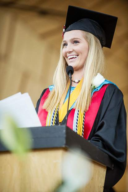 Sydney Forster gives the salutatory address for the Aspen High School graduation on Saturday.