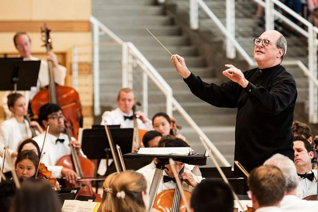 Aspen Music Festival and School music director Robert Spano, photographed in 2016 with the Aspen Festival Orchestra. The festival's 2018 season was announced Tuesday.