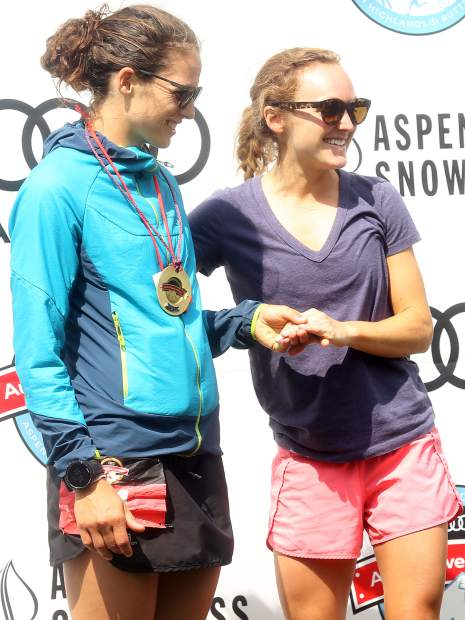 Aspen's Caroline Tory, right, and Basalt's Madeline Fones stand on the podium after finishing 1-2 in the Power of Four Triple Crown on Sunday, July 29, 2018. (Photo by Austin Colbert/The Aspen Times).