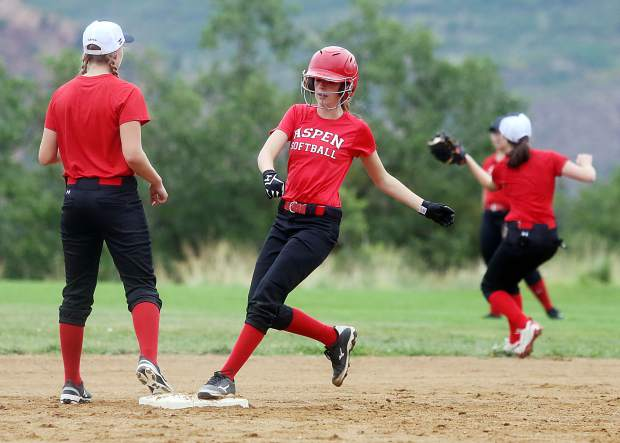 The Aspen High School softball team practices Tuesday at Upper Moore Field.