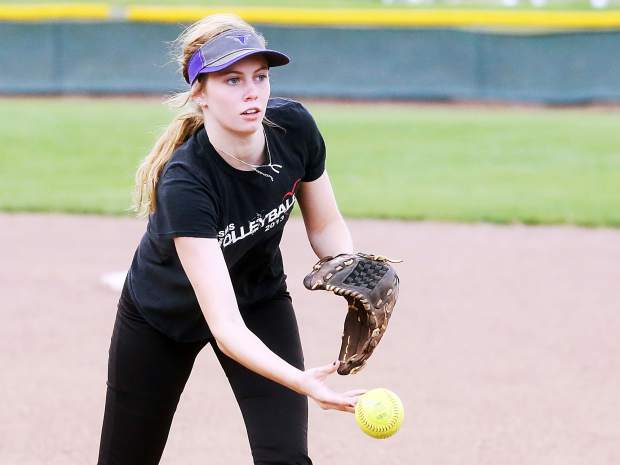 Senior Sequoia Kellogg, who attends Glenwood Springs High School but competes for the Basalt High School softball team, practices Aug. 16 on the BHS field.
