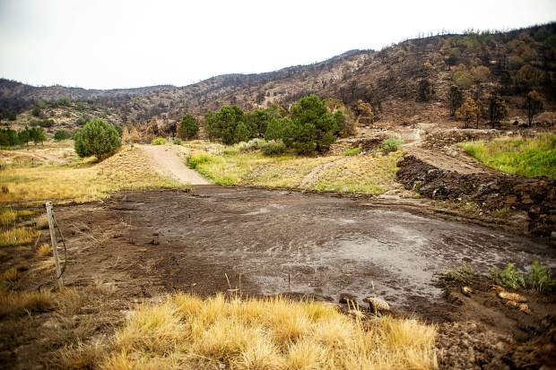 An area affected by a mudslide on the Lane family's property from Saturday's rainfall on Wednesday afternoon from the Lake Christine Fire burn scar.