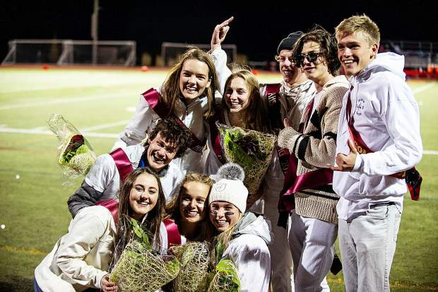 Homecoming court poses for a photo during half time Friday night.
