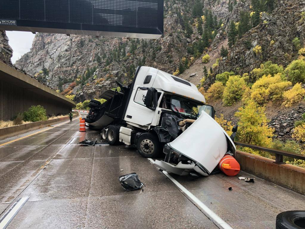 Glenwood Canyon open after semi goes off I-70 upper deck to