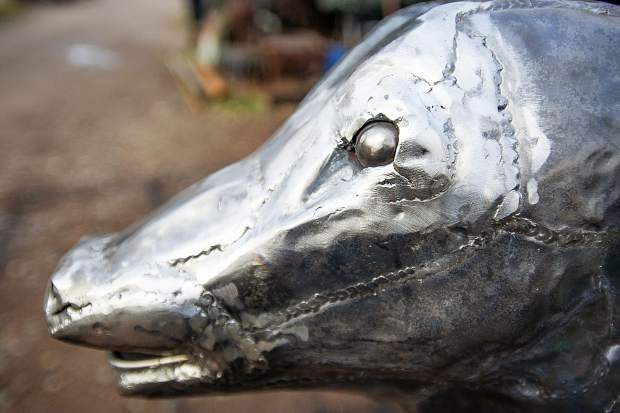A detail of the elk calf that will be going in the El Jebel roundabout.