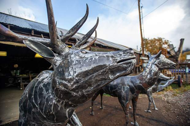 The three elk that El Jebel Blacksmith Vaughn Shafer and sculptor Thomas Barlow were commissioned to make for the El Jebel roundabout.