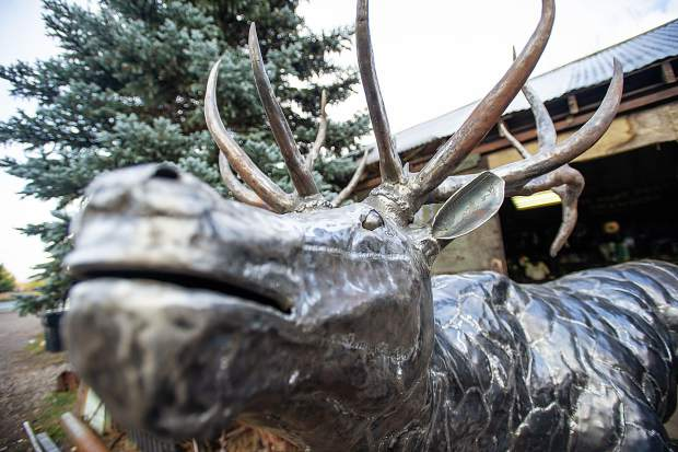 The completed bull elk of the three elk that El Jebel Blacksmith Vaughn Shafer and sculptor Thomas Barlow were commissioned to make for the El Jebel roundabout.