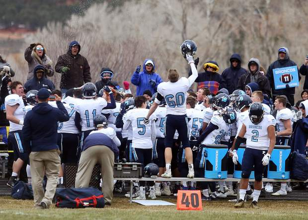 Platte Valley players celebrate in front of their fans after beating Basalt in the 2A state quarterfinals on Saturday, Nov. 10, 2018, in Basalt. (Photo by Austin Colbert/The Aspen Times).