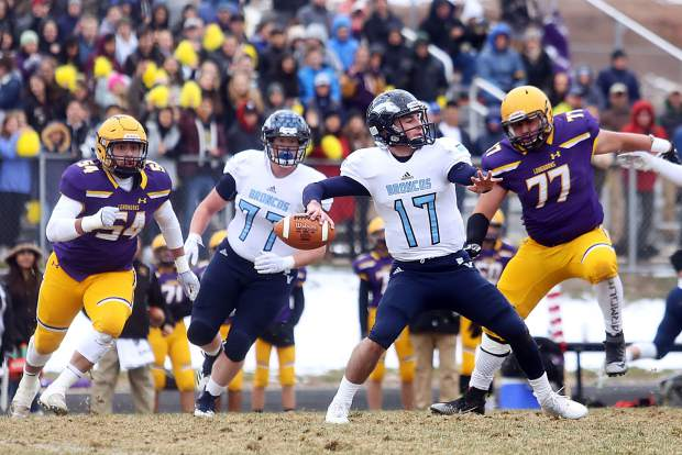 Platte Valley quarterback Trevon Wehrman steps back to pass against Basalt in the 2A state quarterfinals on Saturday, Nov. 10, 2018, in Basalt. (Photo by Austin Colbert/The Aspen Times).