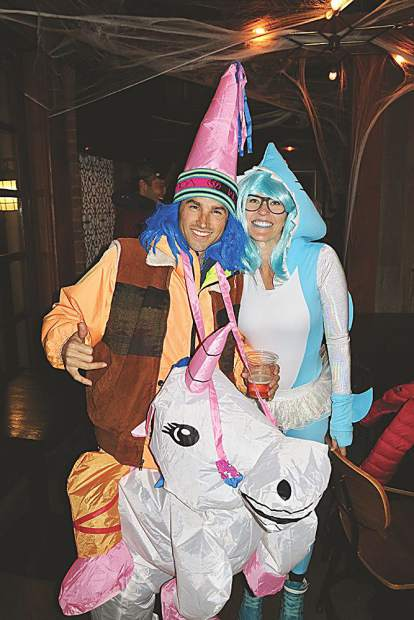 Paul Bunyon stayed home on his first Halloween, but his parents went out as a wizard riding a unicorn and a great white shark.