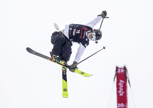 Hunter Hess of Bend, Oregon rotates in mid-air during the qualifiers of the Toyota U.S. Grand Prix halfpipe competition on Wednesday, Dec. 5, at Copper Mountain Resort.