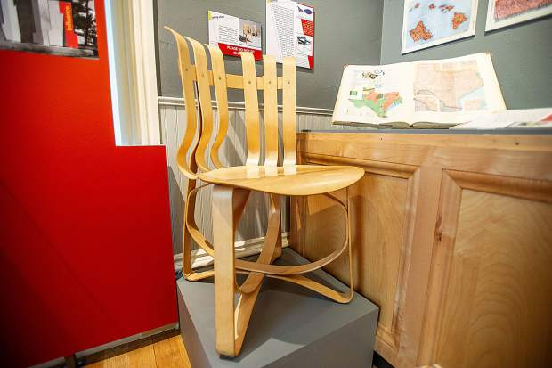 The Gehry Chair created by Frank Gehry in his collection of bentwood furniture at the Aspen Historical Society for the Bauhaus Bayer exhibit.