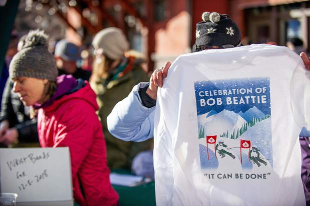 Shirts honoring Bob Beattie were unveiled at Aspen Highlands on Saturday afternoon.