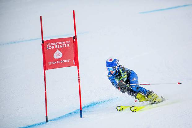 A racer competes at the the celebration of Bob Beattie at Aspen Highlands on Saturday.