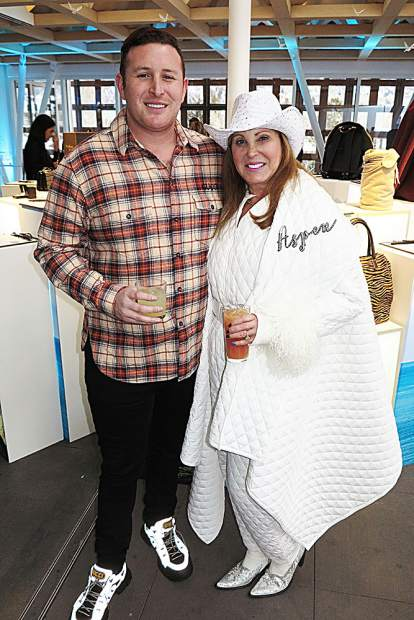 Event co-chair Alexander Mason Hankin and his mother, Helene, in chic apres-ski attire.