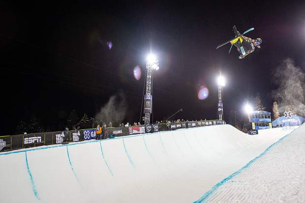 David Wise competes in the X Games men's ski superpipe finals Thursday night. Wise took the silver overall.
