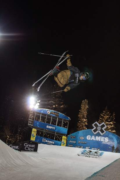 Birk Irving during one of his runs for the men's X Games freeski superpipe finals on Thursday night at Buttermilk.