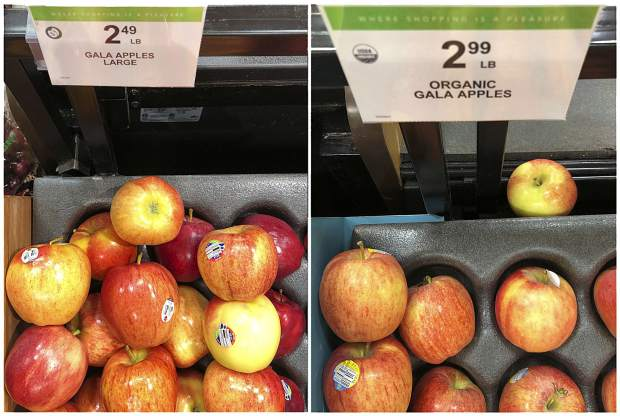 In this Wednesday, Jan. 16, 2019, combination photo, regular Gala apples are shown for sale at $2.49 a pound, and organic Gala apples are shown for sale at $2.99 a pound, at a grocery store in Doral, Fla. U.S. shoppers are still paying more for organic food, but the price premium is falling as organic options multiply.